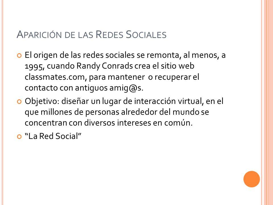 A PARICIÓN DE LAS R EDES S OCIALES El origen de las redes sociales se remonta, al menos, a 1995, cuando Randy Conrads crea el sitio web classmates.com, para mantener o recuperar el contacto con antiguos amig@s.