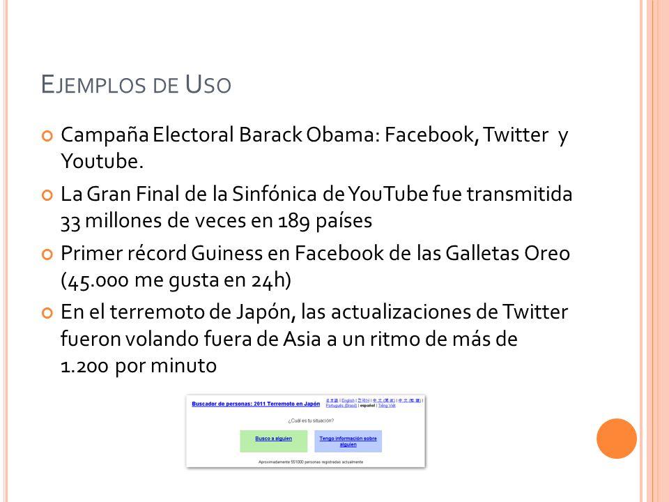 E JEMPLOS DE U SO Campaña Electoral Barack Obama: Facebook, Twitter y Youtube. La Gran Final de la Sinfónica de YouTube fue transmitida 33 millones de