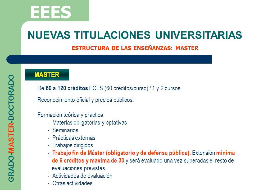 NUEVAS TITULACIONES UNIVERSITARIAS ESTRUCTURA DE LAS ENSEÑANZAS: MASTER EEES GRADO-MASTER-DOCTORADO MASTER De 60 a 120 créditos ECTS (60 créditos/curs