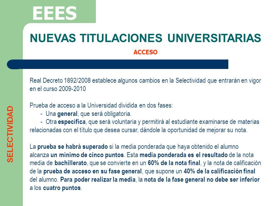 NUEVAS TITULACIONES UNIVERSITARIAS ACCESO EEES Real Decreto 1892/2008 establece algunos cambios en la Selectividad que entrarán en vigor en el curso 2