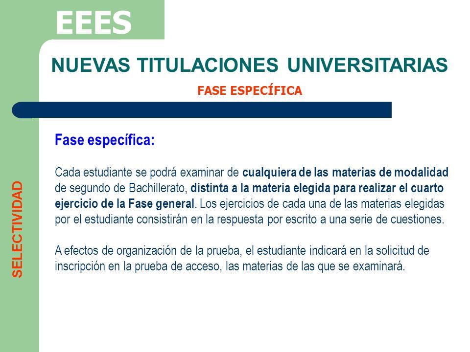 NUEVAS TITULACIONES UNIVERSITARIAS FASE ESPECÍFICA EEES Fase específica: Cada estudiante se podrá examinar de cualquiera de las materias de modalidad