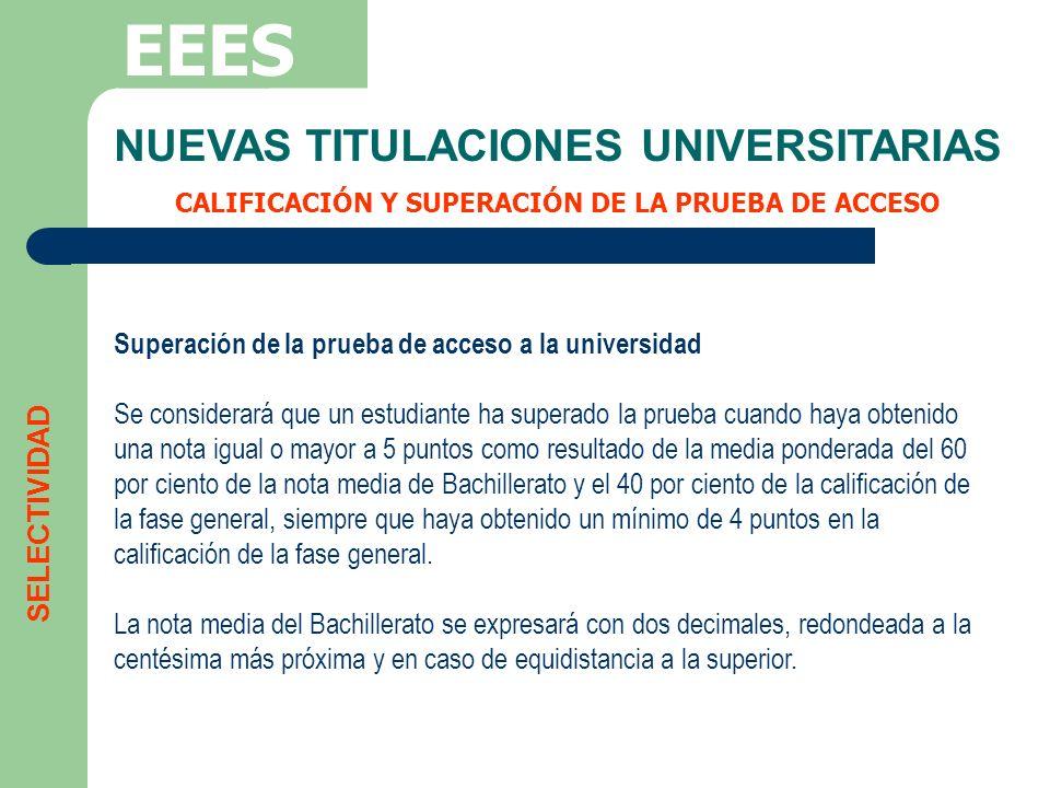 NUEVAS TITULACIONES UNIVERSITARIAS CALIFICACIÓN Y SUPERACIÓN DE LA PRUEBA DE ACCESO EEES SELECTIVIDAD Superación de la prueba de acceso a la universid