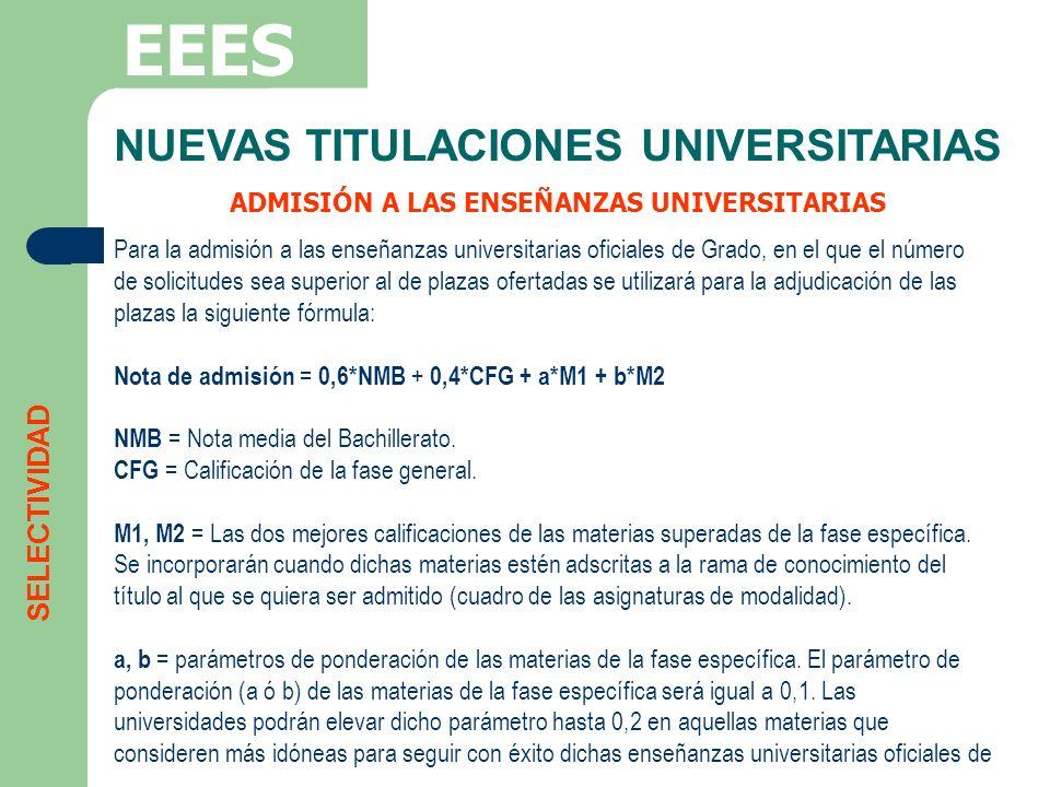 NUEVAS TITULACIONES UNIVERSITARIAS ADMISIÓN A LAS ENSEÑANZAS UNIVERSITARIAS EEES SELECTIVIDAD Para la admisión a las enseñanzas universitarias oficial