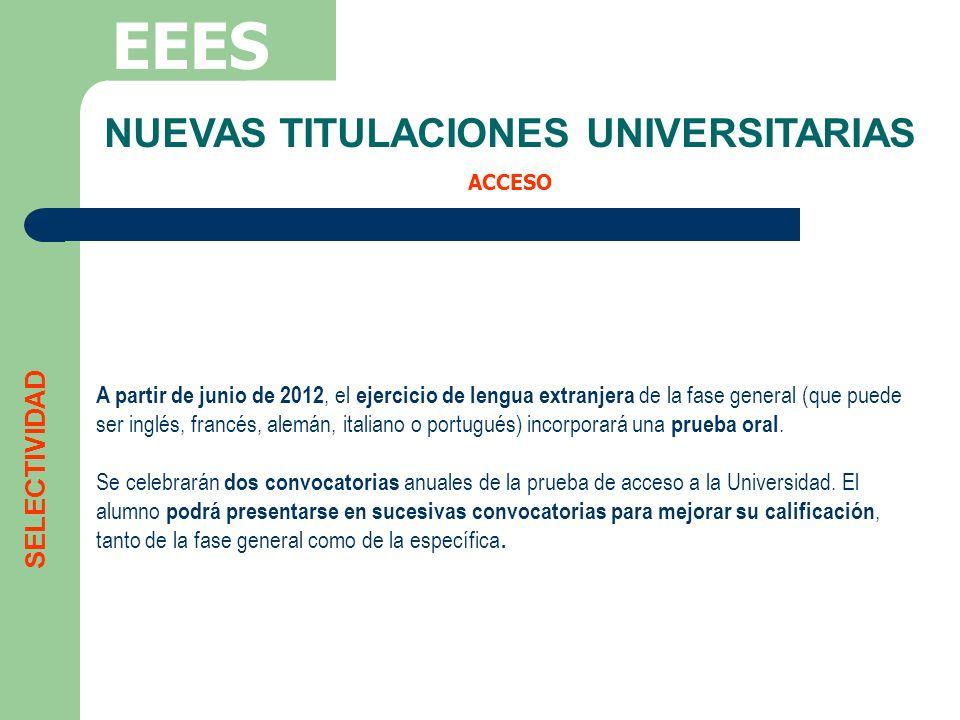 NUEVAS TITULACIONES UNIVERSITARIAS ACCESO EEES A partir de junio de 2012, el ejercicio de lengua extranjera de la fase general (que puede ser inglés,
