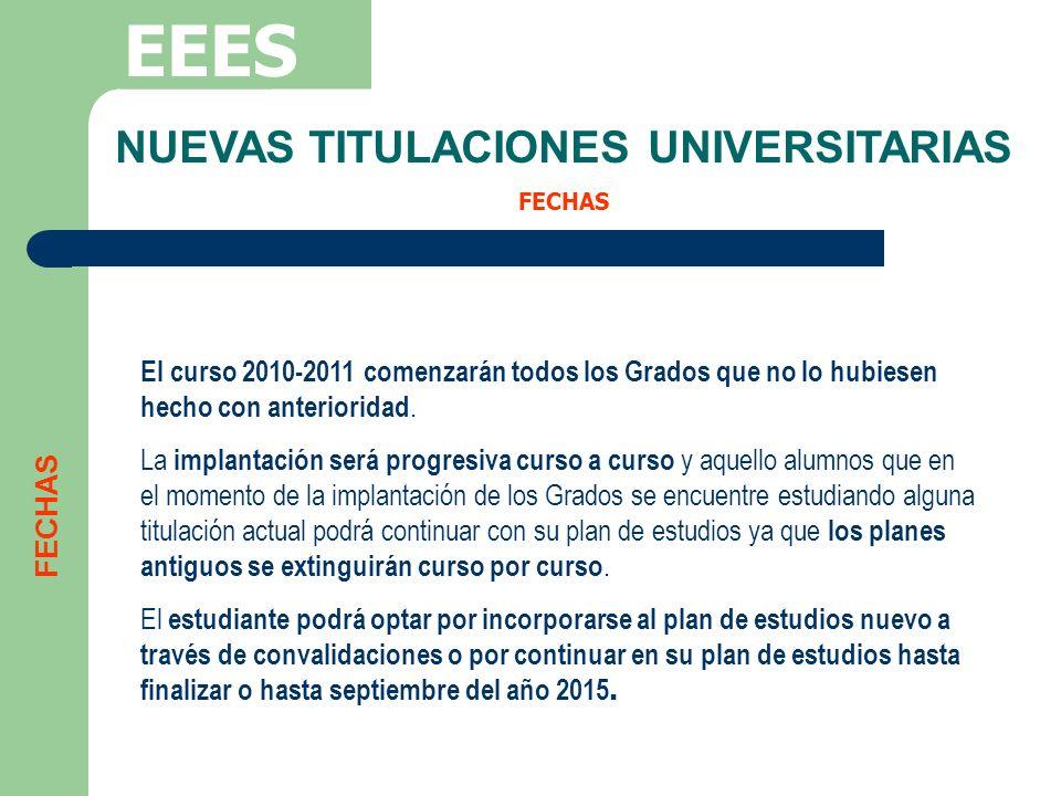 NUEVAS TITULACIONES UNIVERSITARIAS FECHAS EEES FECHAS El curso 2010-2011 comenzarán todos los Grados que no lo hubiesen hecho con anterioridad. La imp