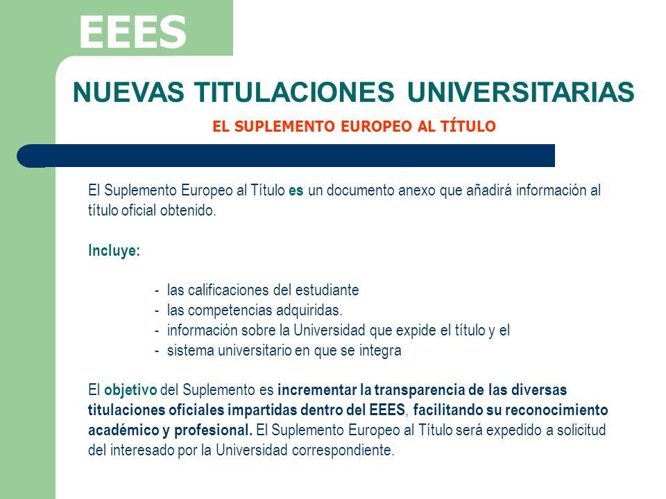 EEES El Suplemento Europeo al Título es un documento anexo que añadirá información al título oficial obtenido. Incluye: - las calificaciones del estud