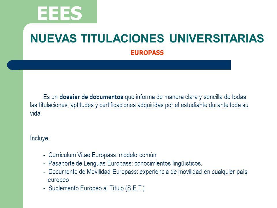 EEES Es un dossier de documentos que informa de manera clara y sencilla de todas las titulaciones, aptitudes y certificaciones adquiridas por el estud