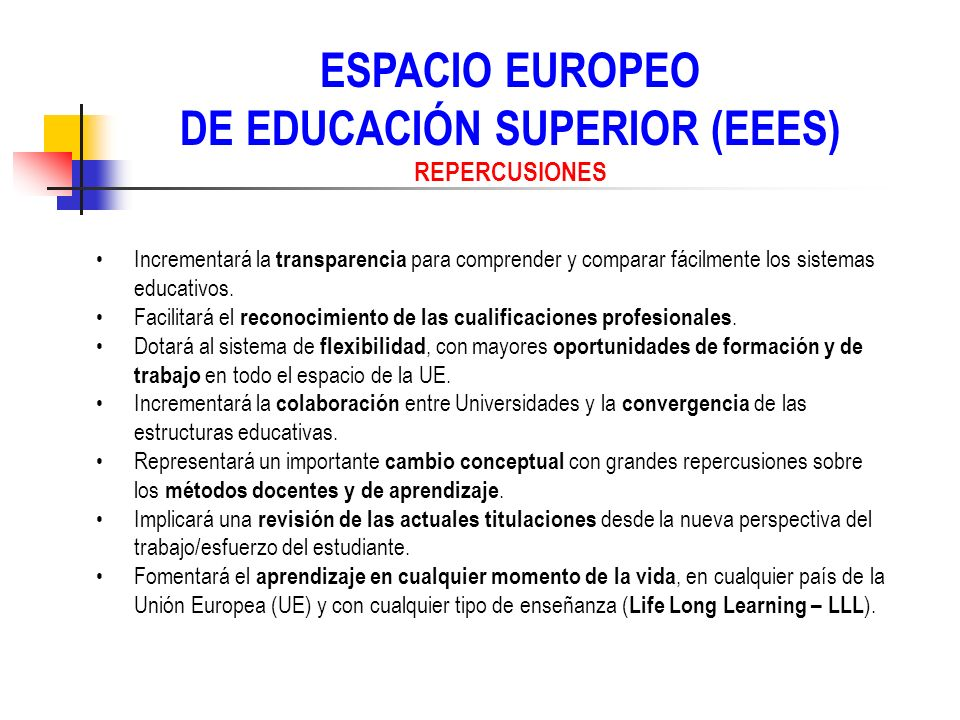 ESPACIO EUROPEO DE EDUCACIÓN SUPERIOR (EEES) REPERCUSIONES Incrementará la transparencia para comprender y comparar fácilmente los sistemas educativos