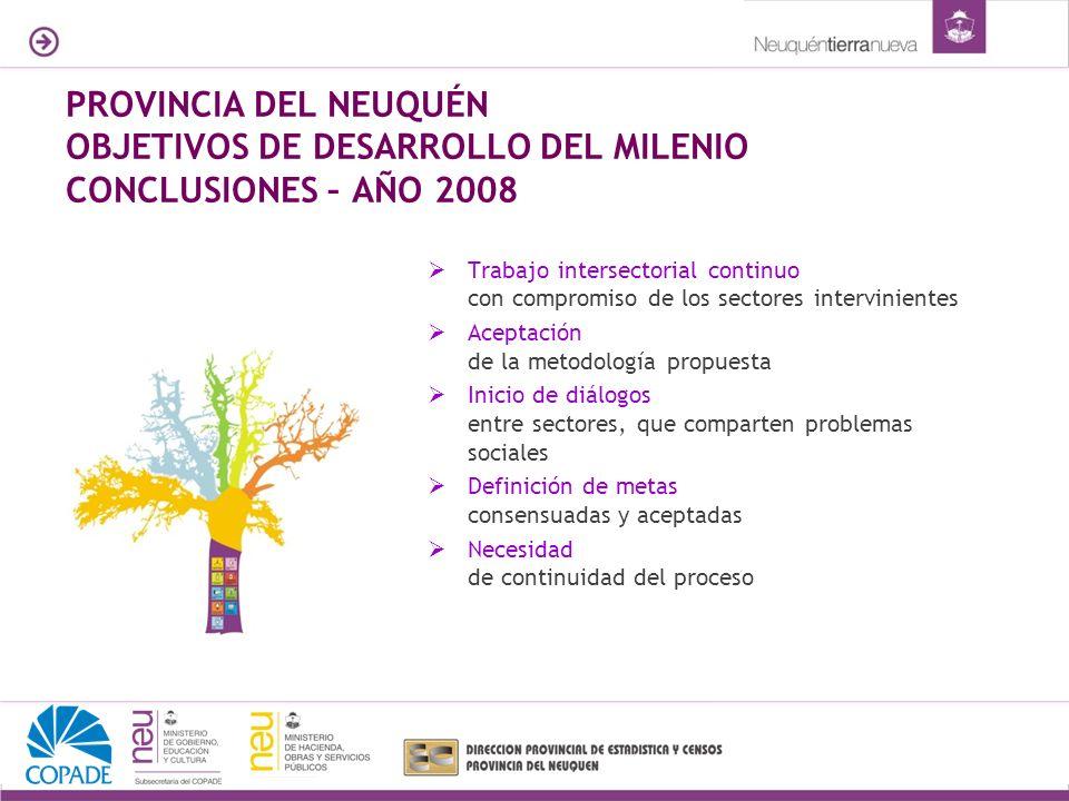 PROVINCIA DEL NEUQUÉN OBJETIVOS DE DESARROLLO DEL MILENIO CONCLUSIONES – AÑO 2008 Trabajo intersectorial continuo con compromiso de los sectores inter