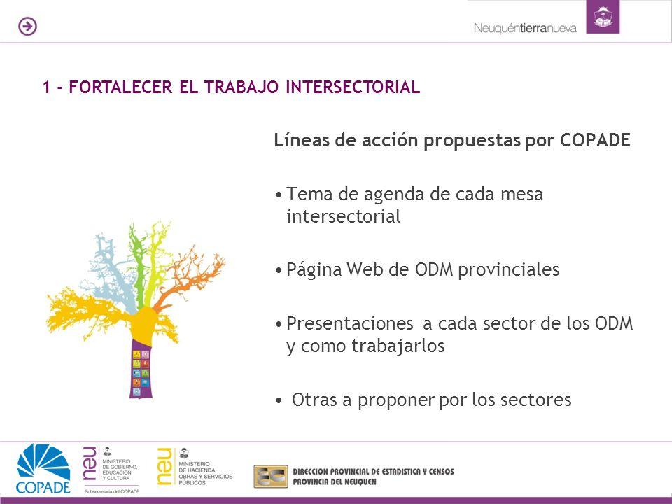 Líneas de acción propuestas por COPADE Tema de agenda de cada mesa intersectorial Página Web de ODM provinciales Presentaciones a cada sector de los ODM y como trabajarlos Otras a proponer por los sectores 1 - FORTALECER EL TRABAJO INTERSECTORIAL