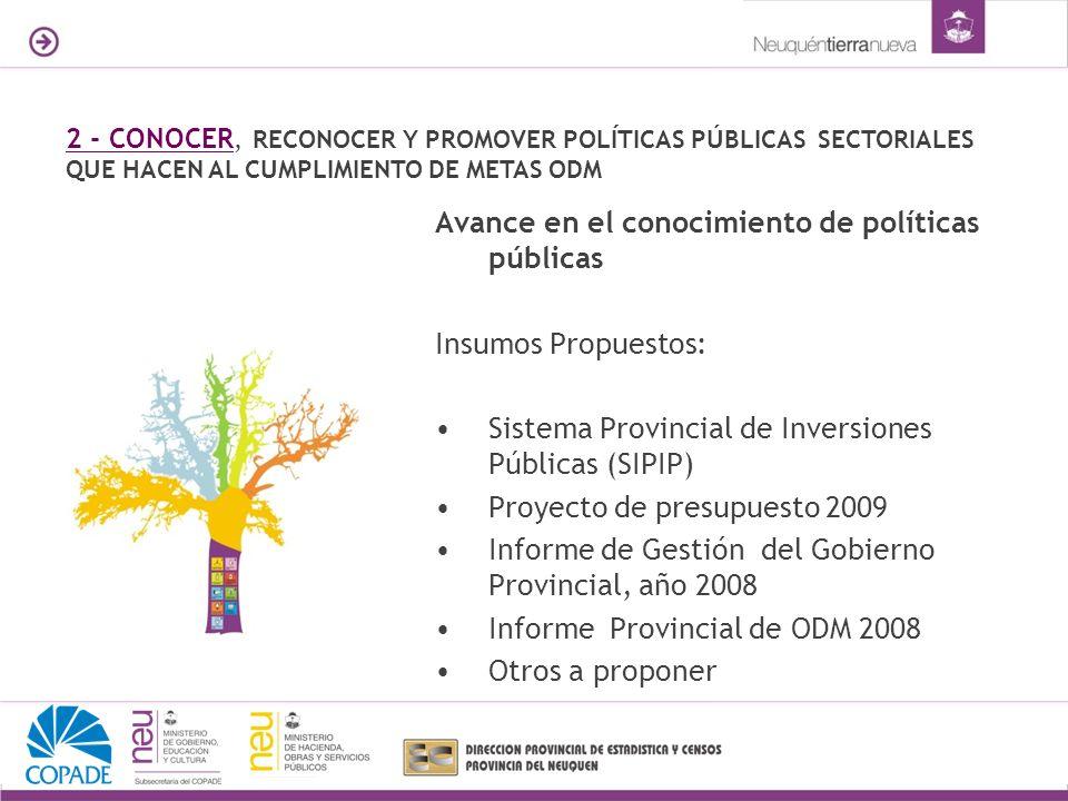 Avance en el conocimiento de políticas públicas Insumos Propuestos: Sistema Provincial de Inversiones Públicas (SIPIP) Proyecto de presupuesto 2009 In