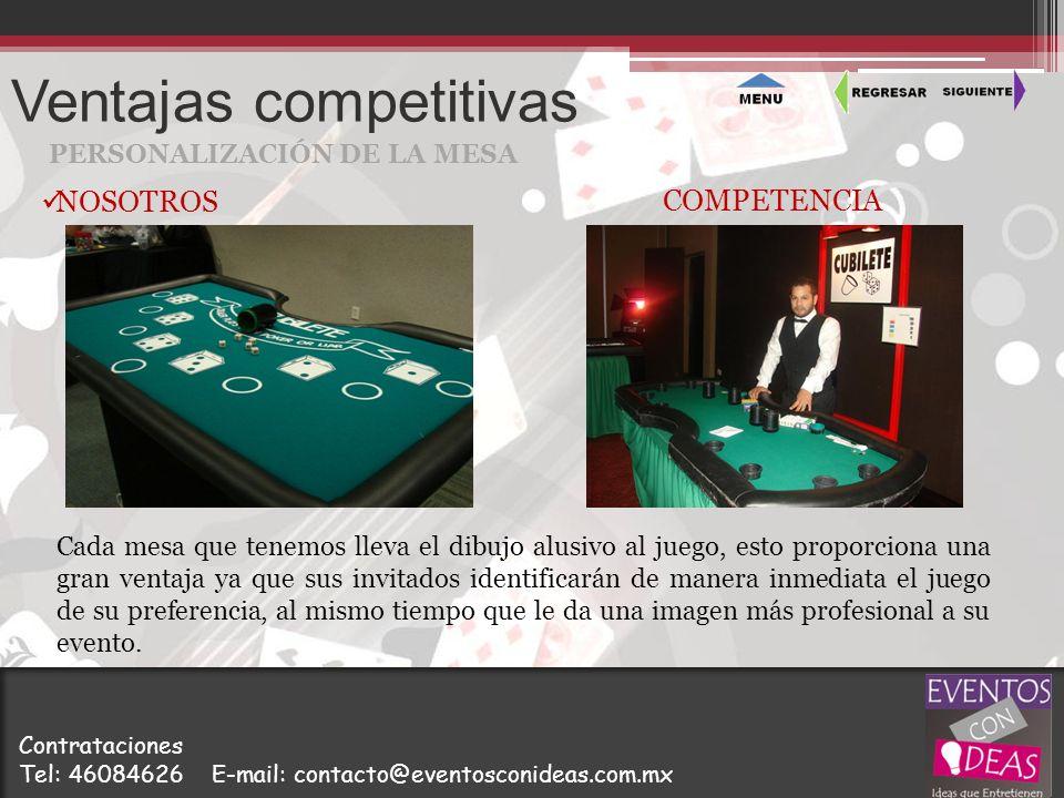 Ventajas competitivas PERSONALIZACIÓN DE LA MESA Cada mesa que tenemos lleva el dibujo alusivo al juego, esto proporciona una gran ventaja ya que sus