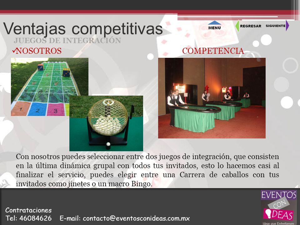 Ventajas competitivas JUEGOS DE INTEGRACIÓN Con nosotros puedes seleccionar entre dos juegos de integración, que consisten en la última dinámica grupa