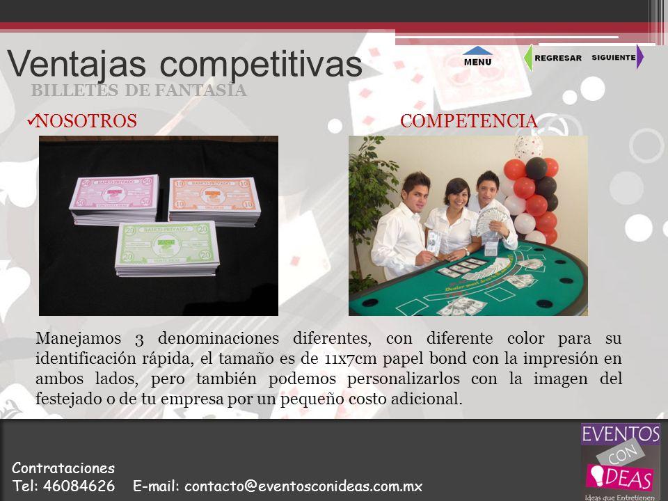 Ventajas competitivas BILLETES DE FANTASÍA Manejamos 3 denominaciones diferentes, con diferente color para su identificación rápida, el tamaño es de 1