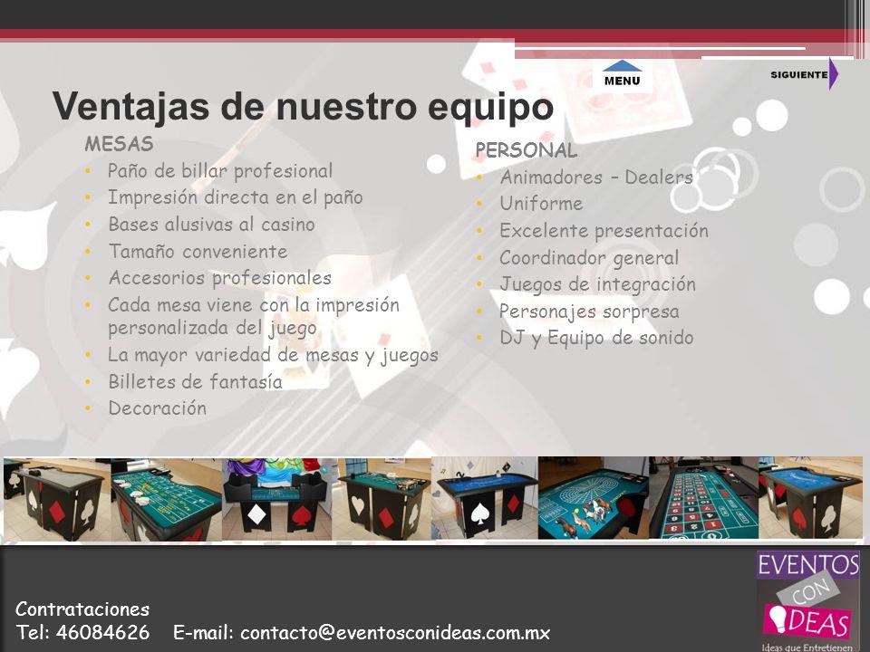 Ventajas de nuestro equipo MESAS Paño de billar profesional Impresión directa en el paño Bases alusivas al casino Tamaño conveniente Accesorios profes