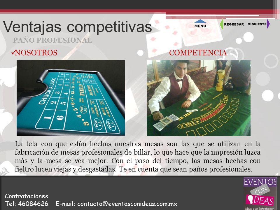 Ventajas competitivas PAÑO PROFESIONAL La tela con que están hechas nuestras mesas son las que se utilizan en la fabricación de mesas profesionales de