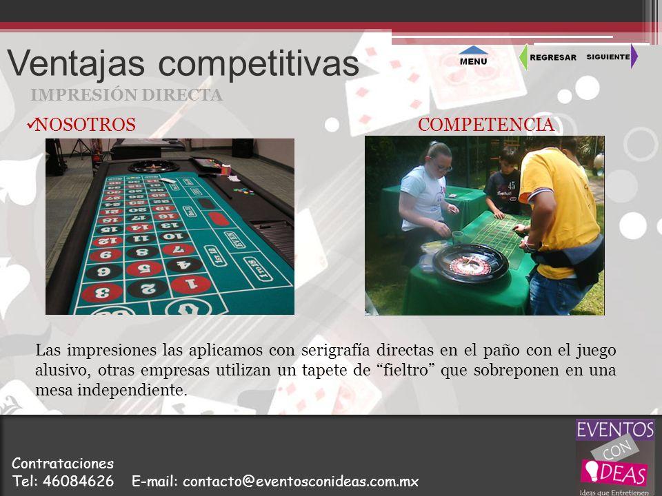 Ventajas competitivas IMPRESIÓN DIRECTA Las impresiones las aplicamos con serigrafía directas en el paño con el juego alusivo, otras empresas utilizan