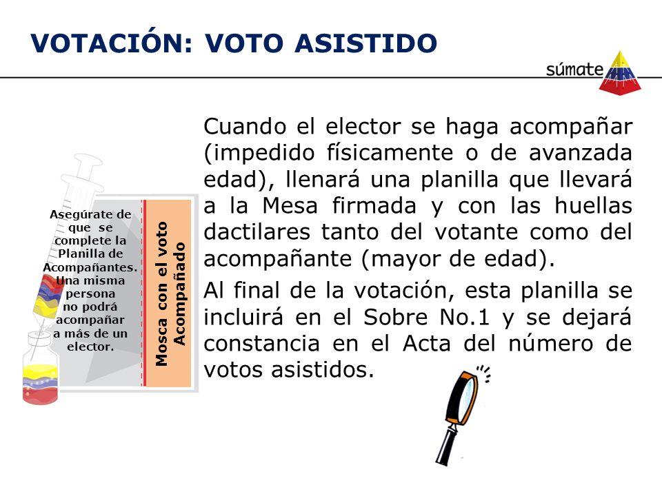 Mosca con el voto Acompañado Asegúrate de que se complete la Planilla de Acompañantes. Una misma persona no podrá acompañar a más de un elector. Cuand