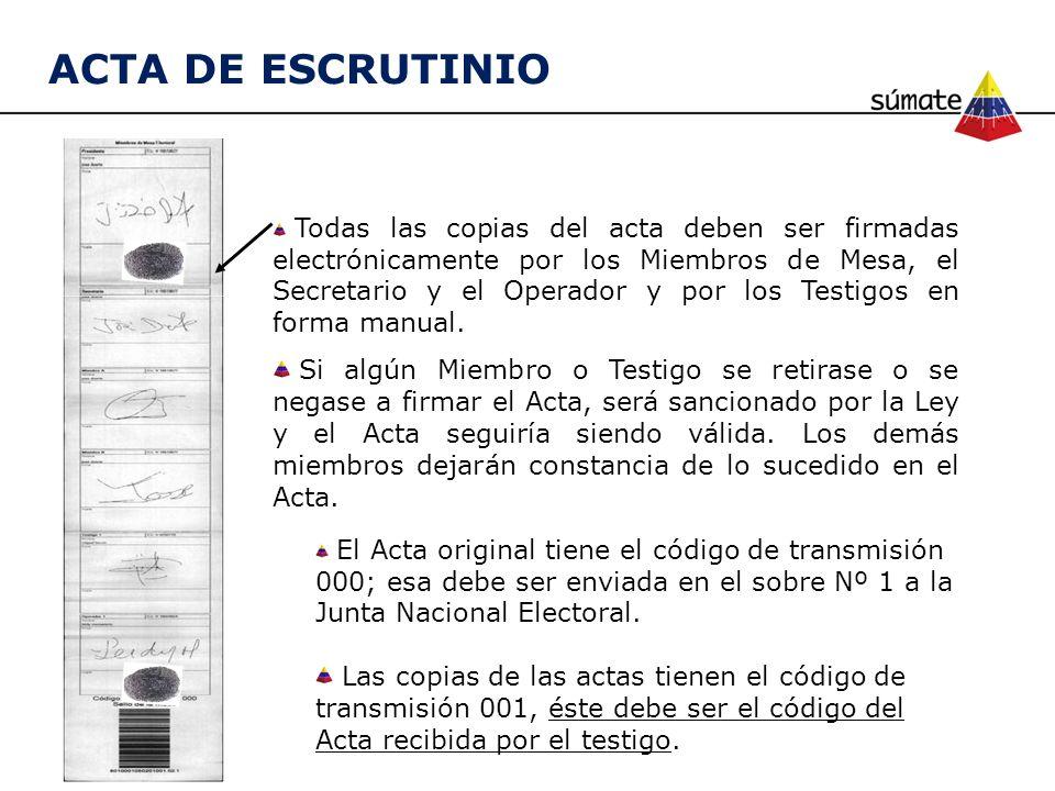 Todas las copias del acta deben ser firmadas electrónicamente por los Miembros de Mesa, el Secretario y el Operador y por los Testigos en forma manual