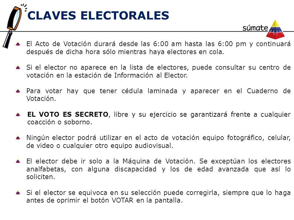 El Acto de Votación durará desde las 6:00 am hasta las 6:00 pm y continuará después de dicha hora sólo mientras haya electores en cola. Si el elector