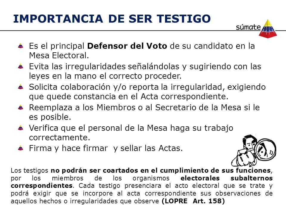 IMPORTANCIA DE SER TESTIGO Los testigos no podrán ser coartados en el cumplimiento de sus funciones, por los miembros de los organismos electorales su