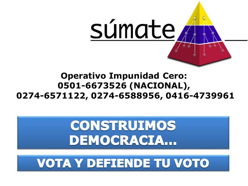 Operativo Impunidad Cero: 0501-6673526 (NACIONAL), 0274-6571122, 0274-6588956, 0416-4739961