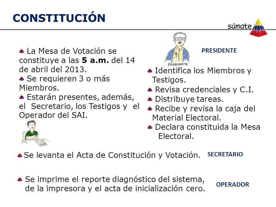 CONSTITUCIÓN La Mesa de Votación se constituye a las 5 a.m. del 14 de abril del 2013. Se requieren 3 o más Miembros. Estarán presentes, además, el Sec