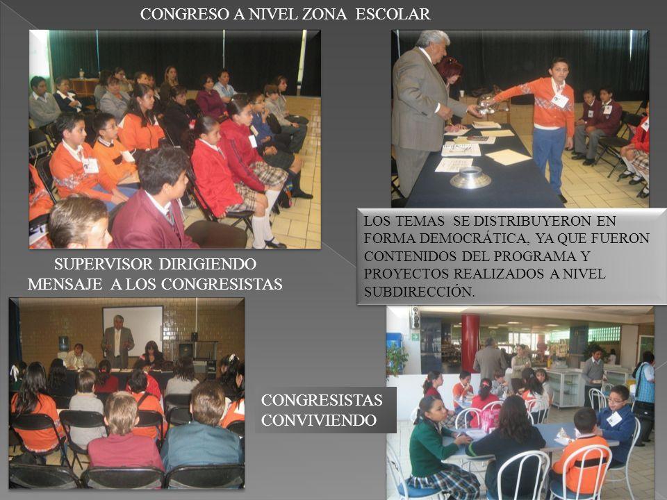 CONGRESO A NIVEL ZONA ESCOLAR SUPERVISOR DIRIGIENDO MENSAJE A LOS CONGRESISTAS CONGRESISTAS CONVIVIENDO LOS TEMAS SE DISTRIBUYERON EN FORMA DEMOCRÁTICA, YA QUE FUERON CONTENIDOS DEL PROGRAMA Y PROYECTOS REALIZADOS A NIVEL SUBDIRECCIÓN.