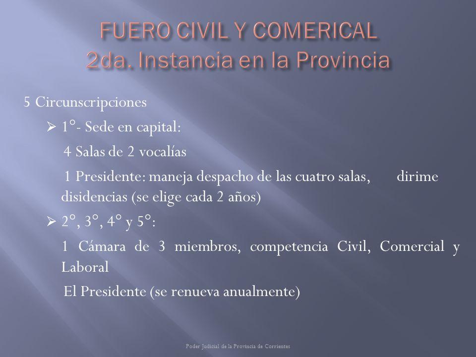 5 Circunscripciones 1°- Sede en capital: 4 Salas de 2 vocalías 1 Presidente: maneja despacho de las cuatro salas, dirime disidencias (se elige cada 2