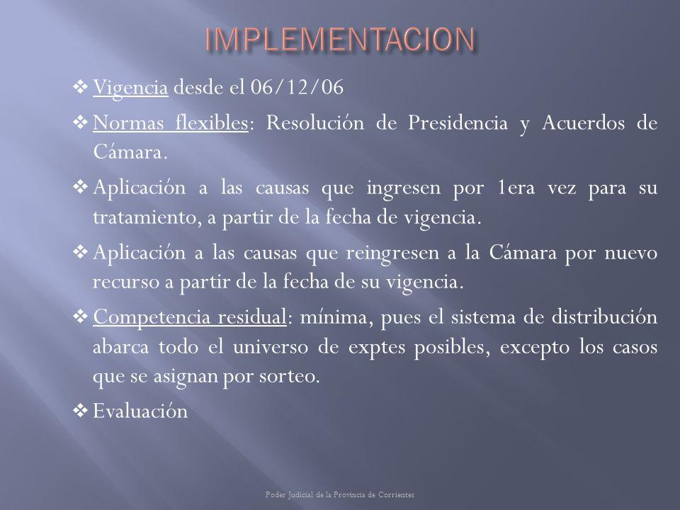 Vigencia desde el 06/12/06 Normas flexibles: Resolución de Presidencia y Acuerdos de Cámara. Aplicación a las causas que ingresen por 1era vez para su