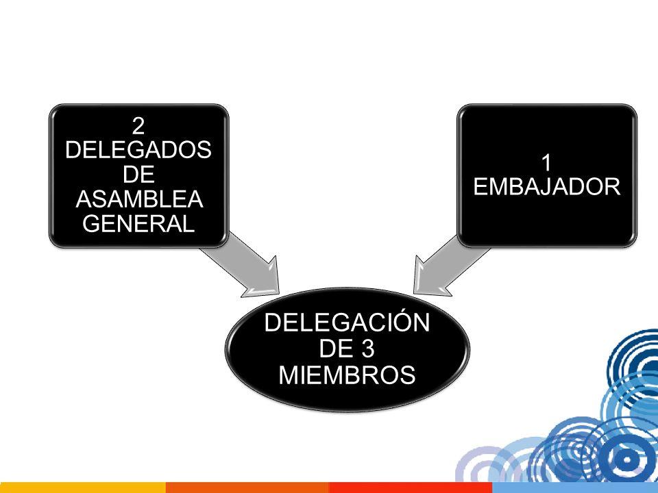 DELEGACIÓN DE 3 MIEMBROS 2 DELEGADOS DE ASAMBLEA GENERAL 1 EMBAJADOR