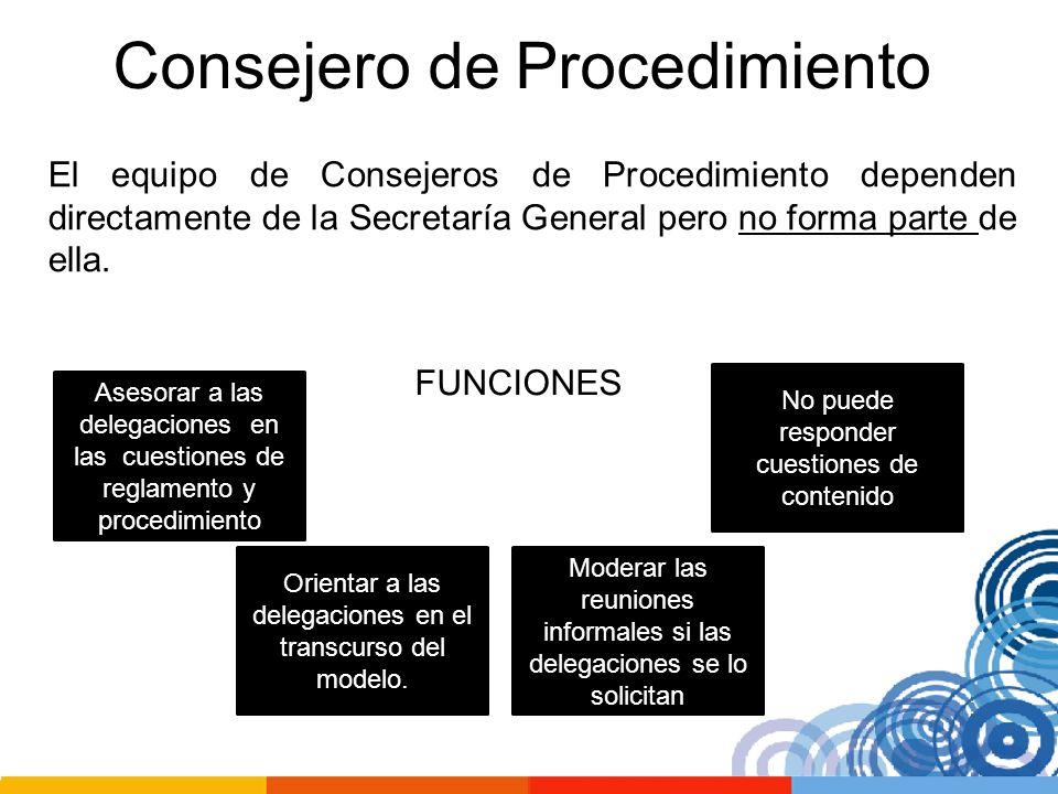 Consejero de Procedimiento El equipo de Consejeros de Procedimiento dependen directamente de la Secretaría General pero no forma parte de ella. FUNCIO
