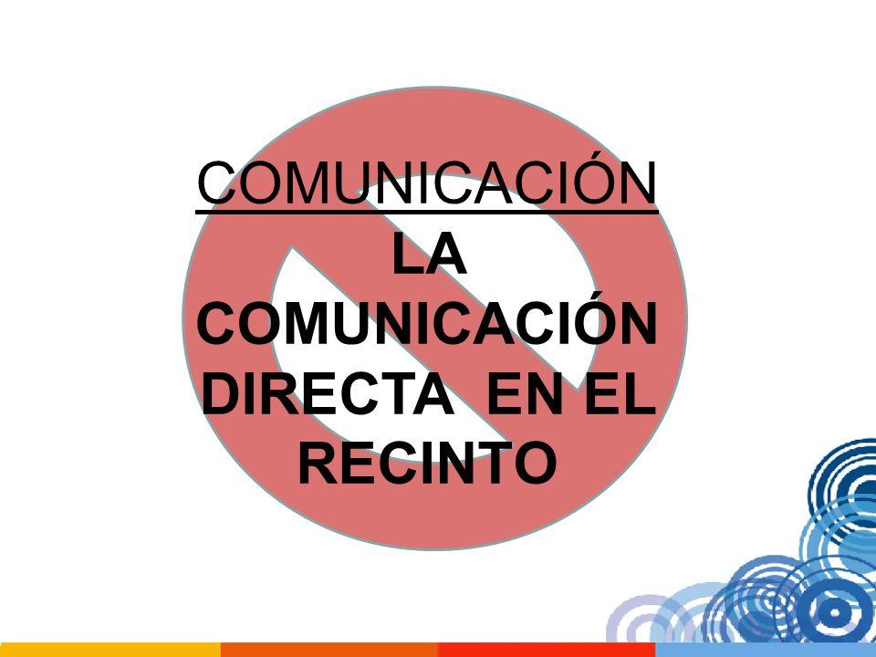 COMUNICACIÓN LA COMUNICACIÓN DIRECTA EN EL RECINTO