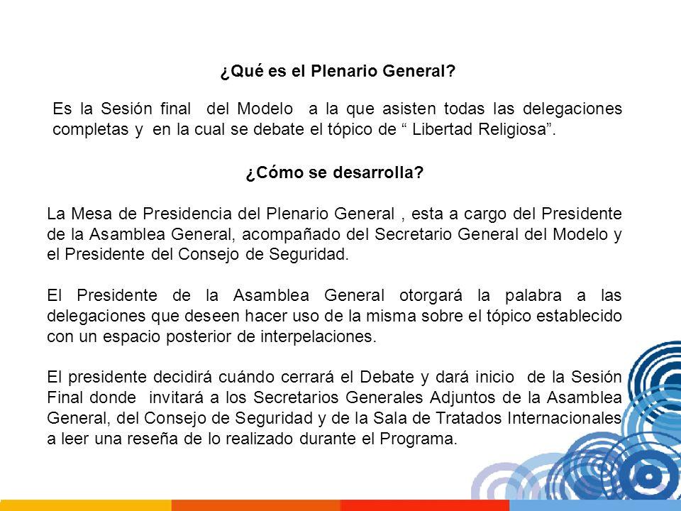 ¿Qué es el Plenario General? ¿Cómo se desarrolla? La Mesa de Presidencia del Plenario General, esta a cargo del Presidente de la Asamblea General, aco