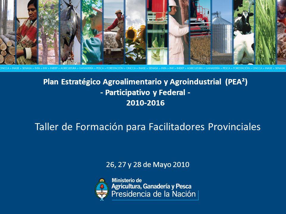 Plan Estratégico Agroalimentario y Agroindustrial (PEA²) - Participativo y Federal - 2010-2016 Taller de Formación para Facilitadores Provinciales 26, 27 y 28 de Mayo 2010