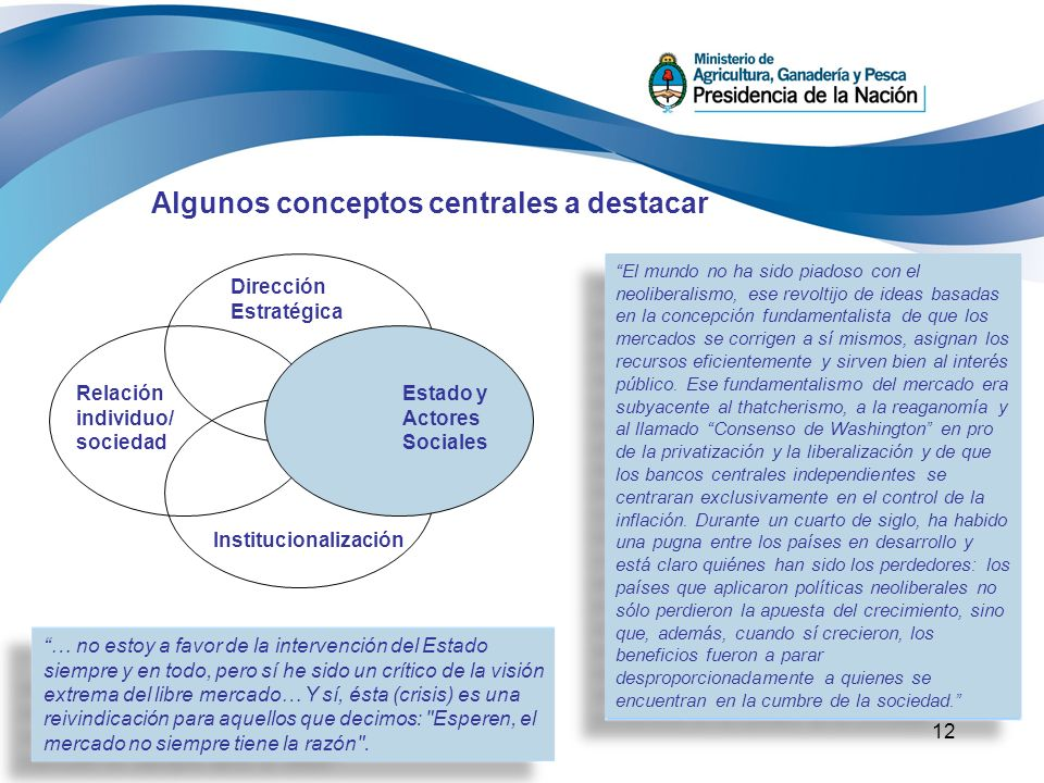 12 Algunos conceptos centrales a destacar Dirección Estratégica Institucionalización Relación individuo/ sociedad Estado y Actores Sociales … no estoy