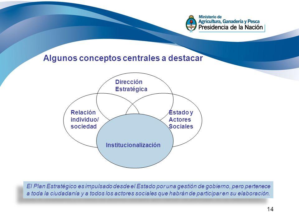 14 Algunos conceptos centrales a destacar Dirección Estratégica Relación individuo/ sociedad Estado y Actores Sociales Institucionalización El Plan Es