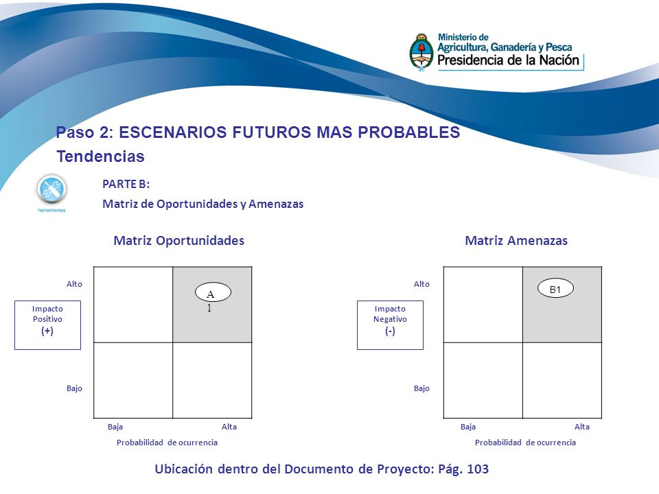 Paso 2: ESCENARIOS FUTUROS MAS PROBABLES Tendencias PARTE B: Matriz de Oportunidades y Amenazas Matriz Oportunidades Impacto Positivo (+) Alto Bajo Matriz Amenazas Impacto Negativo (-) Alto Bajo A1A1 Probabilidad de ocurrencia AltaBaja B1 Probabilidad de ocurrencia AltaBaja Ubicación dentro del Documento de Proyecto: Pág.