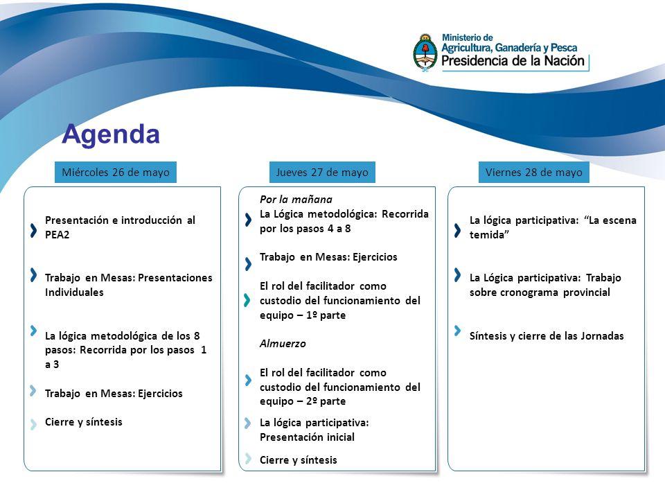 Agenda Presentación e introducción al PEA2 Trabajo en Mesas: Presentaciones Individuales La lógica metodológica de los 8 pasos: Recorrida por los paso
