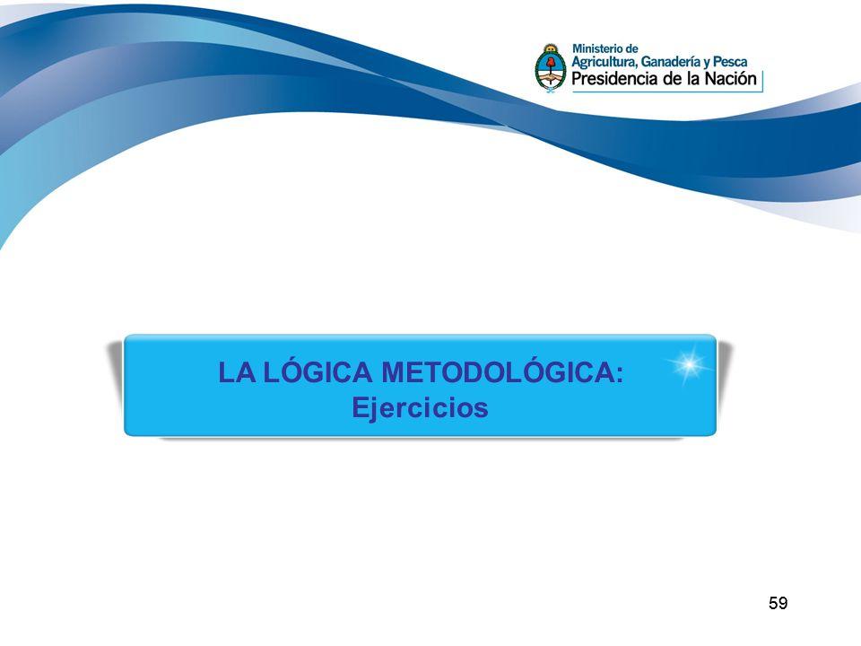 59 LA LÓGICA METODOLÓGICA: Ejercicios