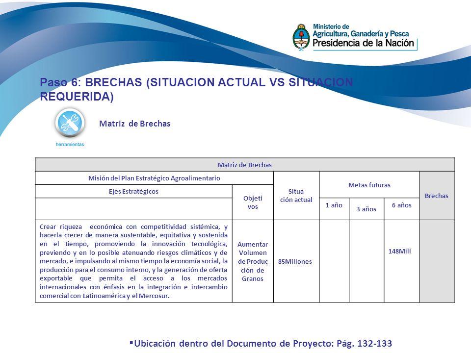 Matriz de Brechas Paso 6: BRECHAS (SITUACION ACTUAL VS SITUACION REQUERIDA) Matriz de Brechas Misión del Plan Estratégico Agroalimentario Situa ción a