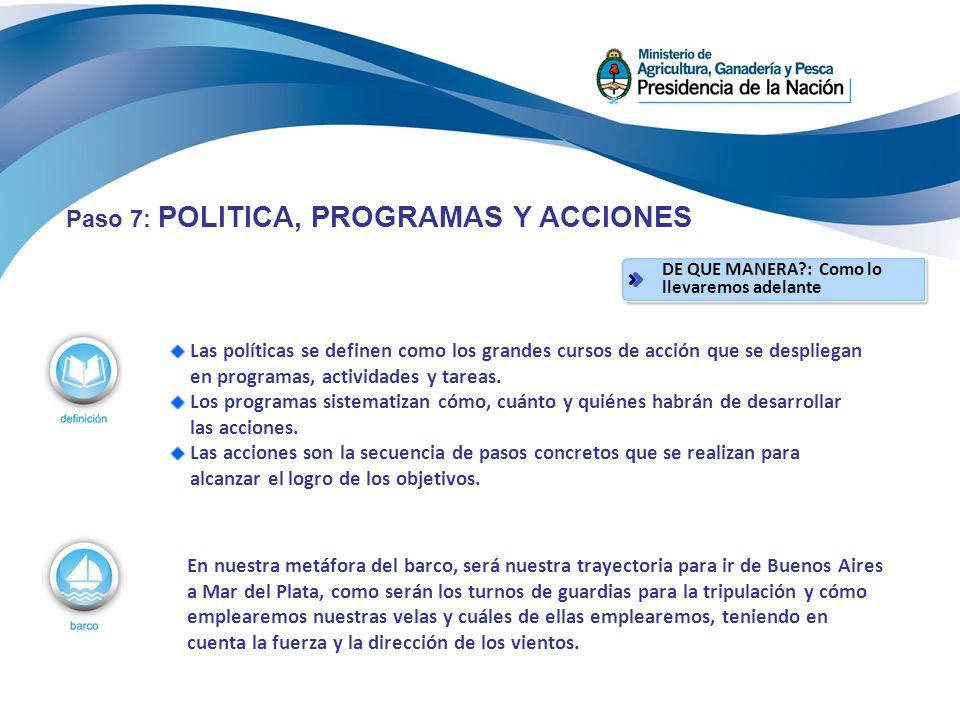 Las políticas se definen como los grandes cursos de acción que se despliegan en programas, actividades y tareas.