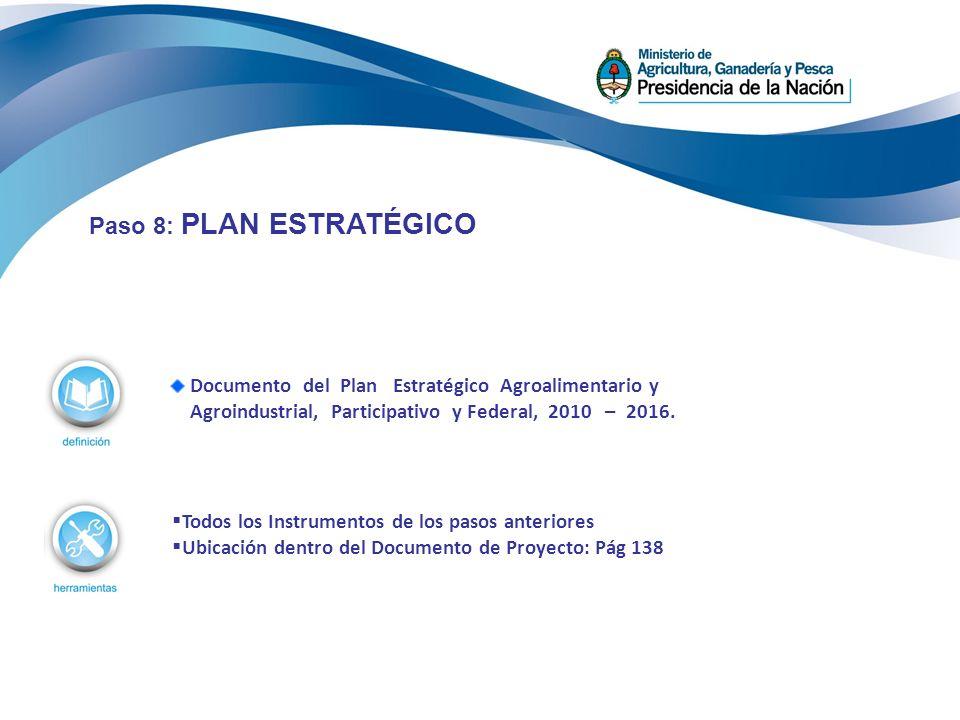 Documento del Plan Estratégico Agroalimentario y Agroindustrial, Participativo y Federal, 2010 – 2016. Paso 8: PLAN ESTRATÉGICO Todos los Instrumentos