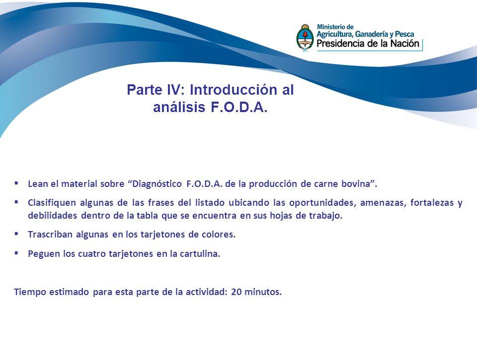 Parte IV: Introducción al análisis F.O.D.A. Lean el material sobre Diagnóstico F.O.D.A. de la producción de carne bovina. Clasifiquen algunas de las f