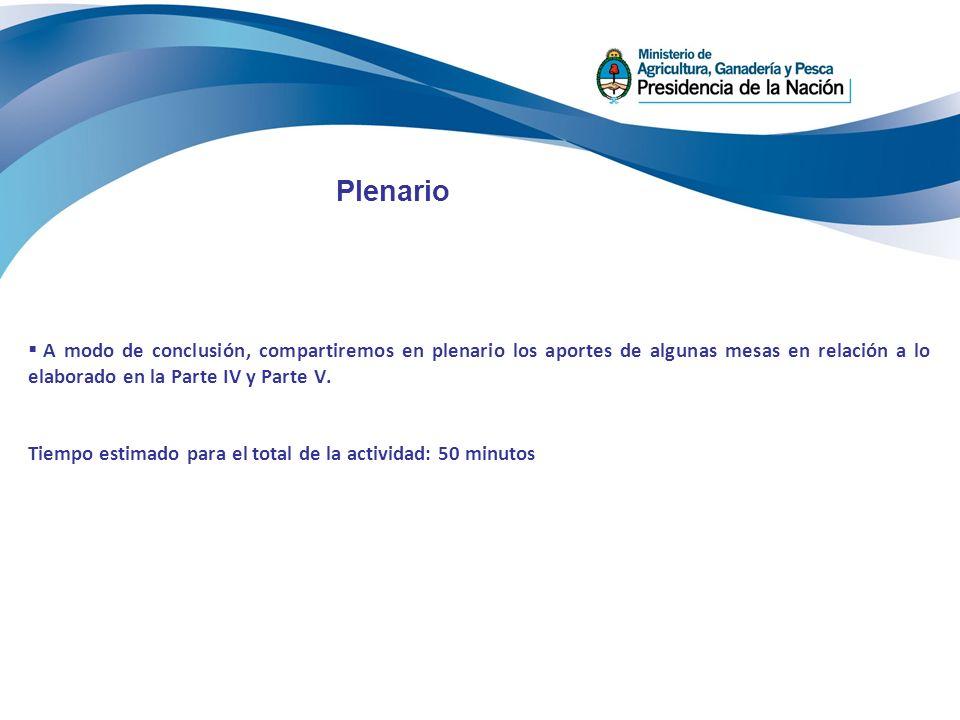 Plenario A modo de conclusión, compartiremos en plenario los aportes de algunas mesas en relación a lo elaborado en la Parte IV y Parte V. Tiempo esti