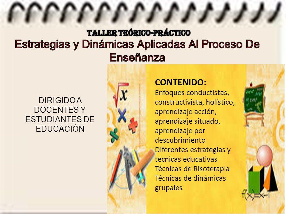 CONTENIDO: Enfoques conductistas, constructivista, holístico, aprendizaje acción, aprendizaje situado, aprendizaje por descubrimiento Diferentes estrategias y técnicas educativas Técnicas de Risoterapia Técnicas de dinámicas grupales