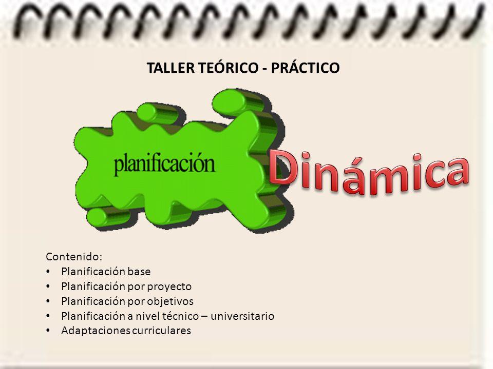 TALLER TEÓRICO - PRÁCTICO Contenido: Planificación base Planificación por proyecto Planificación por objetivos Planificación a nivel técnico – universitario Adaptaciones curriculares