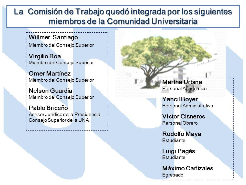 La Comisión de Trabajo quedó integrada por los siguientes miembros de la Comunidad Universitaria Willmer Santiago Miembro del Consejo Superior Virgili