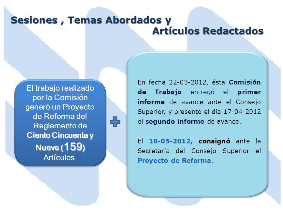 Sesiones, Temas Abordados y Artículos Redactados Ciento Cincuenta y Nueve ( 159 ) El trabajo realizado por la Comisión generó un Proyecto de Reforma del Reglamento de Ciento Cincuenta y Nueve ( 159 ) Artículos.