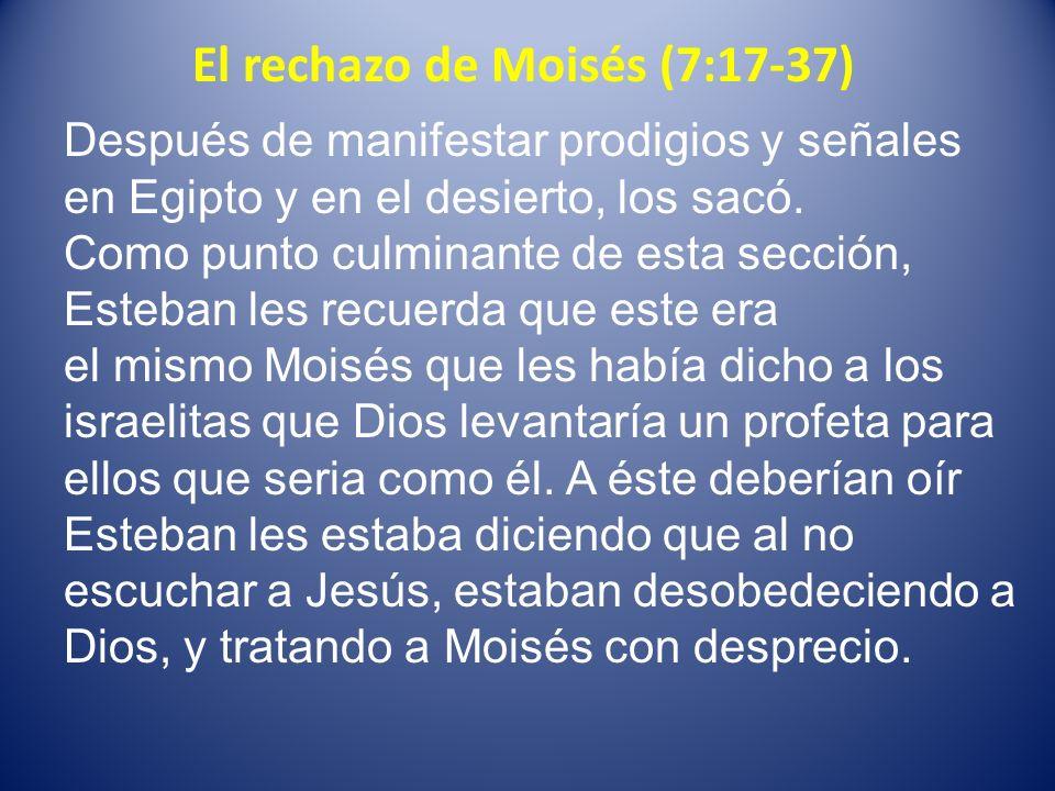 El rechazo de Moisés (7:17-37) Después de manifestar prodigios y señales en Egipto y en el desierto, los sacó. Como punto culminante de esta sección,